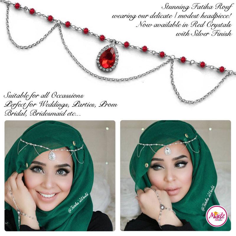 Madz Fashionz USA - Fatihasworld Tear Drop Matha Patti Headpiece Silver and Red