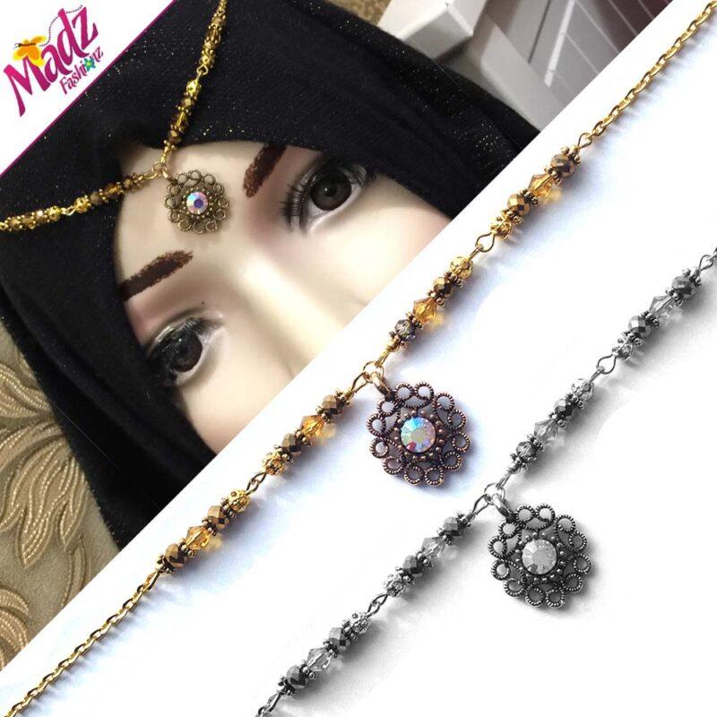 Delicate Kundan Antique Silver Preity Headpiece Crystal rhinestone Forehead Headchain Bindiya matha patti Dangle Hijab Pin indian wedding bridal elegant
