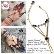 Hennabyang Gold Black Cuff Bracelet Hand Jewellery Panjas - MadZ FashionZ USA