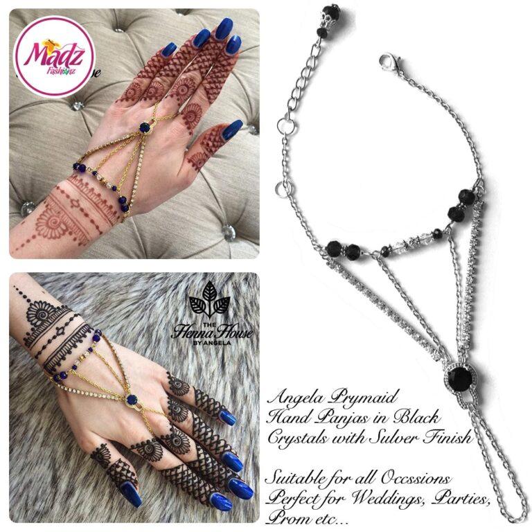 Hennabyang Silver Black Cuff Bracelet Hand Jewellery Panjas - MadZ FashionZ USA