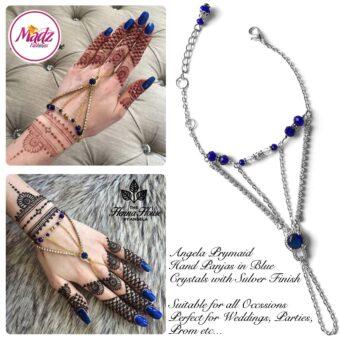 Hennabyang Silver Royal Blue Cuff Bracelet Hand Jewellery Panjas - MadZ FashionZ USA