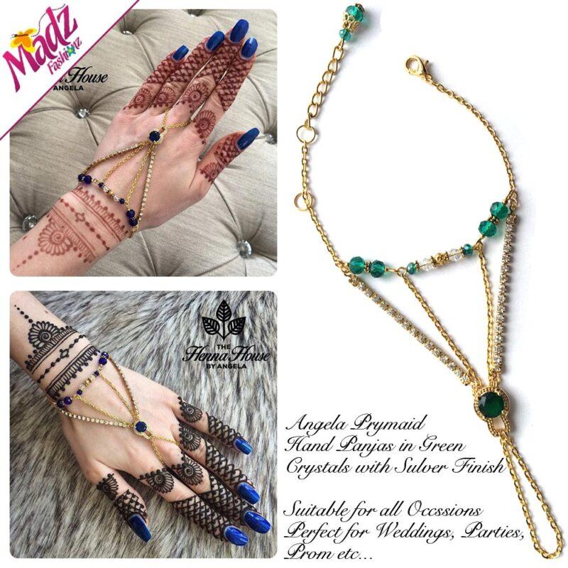 Hennabyang Gold Green Cuff Bracelet Hand Jewellery Panjas - MadZ FashionZ USA