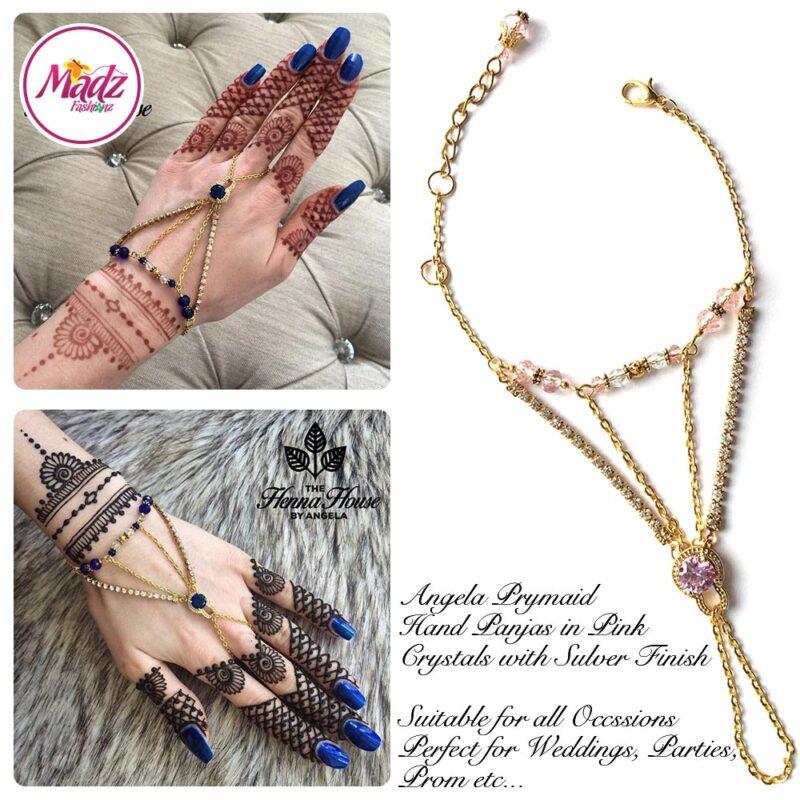 Hennabyang Gold Light Pink Cuff Bracelet Hand Jewellery Panjas - MadZ FashionZ USA