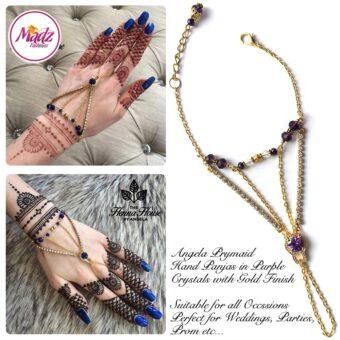 Hennabyang Gold Purple Cuff Bracelet Hand Jewellery Panjas - MadZ FashionZ USA