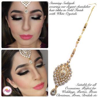 Madz Fashionz USA: Sadiiyah Chandelier Bridal Hair Tikka Gold White
