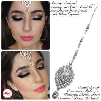 Madz Fashionz USA: Sadiiyah Chandelier Bridal Hair Tikka Silver White