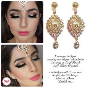 Madz Fashionz USA: Sadiiyah Chandelier Statement Bridal Earrings Gold White