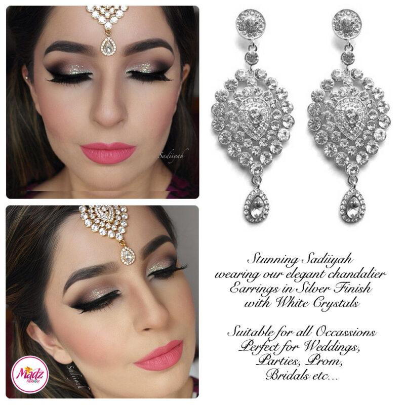 Madz Fashionz USA: Sadiiyah Chandelier Statement Bridal Earrings Silver White