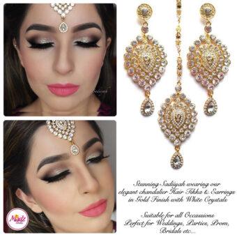 Madz Fashionz USA: Sadiiyah Chandelier Bridal Tikka Earring Set Gold White