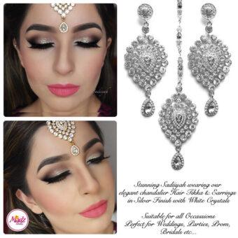 Madz Fashionz USA: Sadiiyah Chandelier Bridal Tikka Earring Set Silver White
