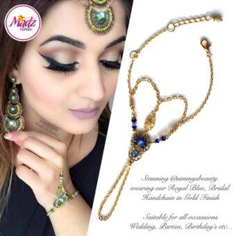 Madz Fashionz USA: @simmysbeauty Hand Panja, Chains, Bracelet Royal Blue Stones