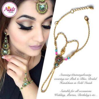 Madz Fashionz USA: @simmysbeauty Hand Panja, Chains, Bracelet Pink Blue Stones