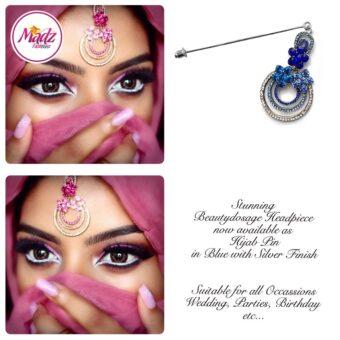 Madz Fashinz USA: Beautydosage Chandelier Hijab Pin Silver Royal Blue