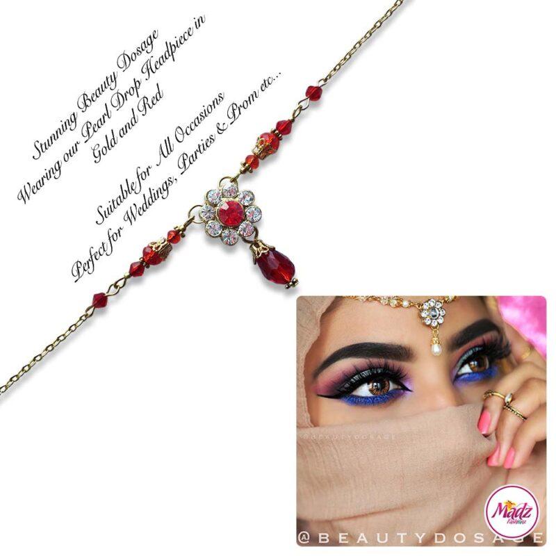 Madz Fashionz USA BeautyDosage Pearl Drop Headpiece Gold Finish Red