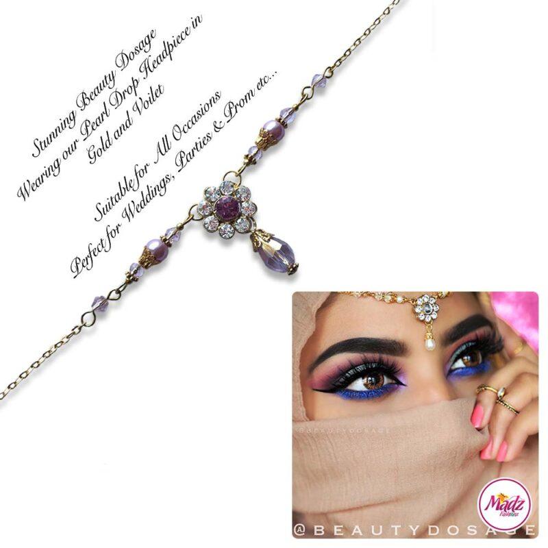 Madz Fashionz USA BeautyDosage Pearl Drop Headpiece Gold Finish Voilet