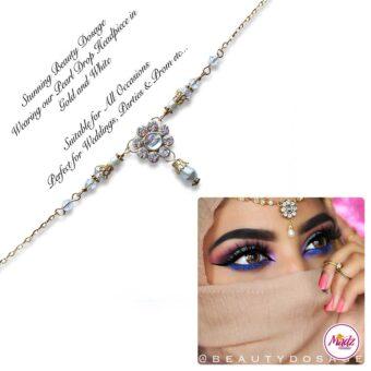 Madz Fashionz USA BeautyDosage Pearl Drop Headpiece Gold Finish White