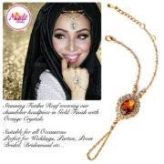 Madz Fashionz USA Fatiha World Chandelier Handpiece Slave Bracelet Gold and Orange
