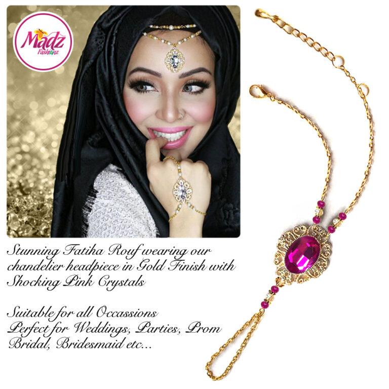 Madz Fashionz USA Fatiha World Chandelier Handpiece Slave Bracelet Gold and Shocking Pink