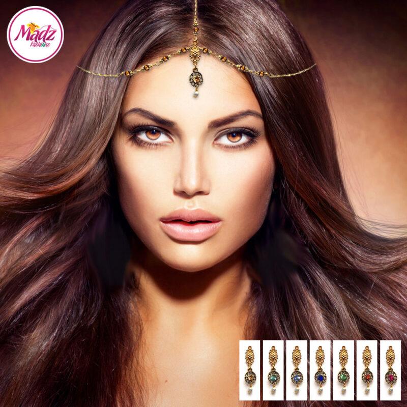 Madz Fashionz USA: Adeela Pearl Drop Gold Headpiece Matha Patti Tikka