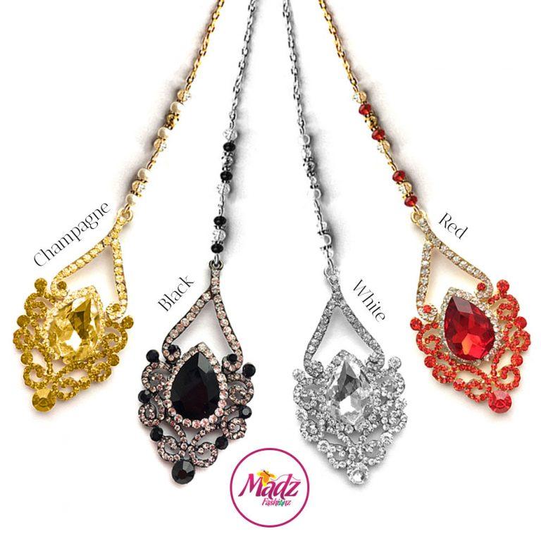 Madz Fashionz USA: Mahira Exquisite Nawab Bridal Maang Tikka Headpiece red black champagne white gold silver