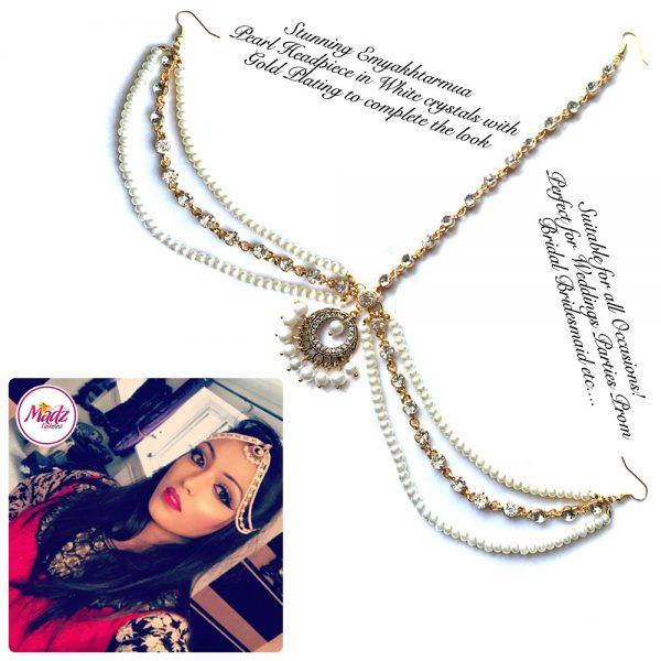 Madz Fashionz USA: Emyakhtarmua Pearl Drop Kundan Matha Patti Headpiece Hair Jewellery Gold White