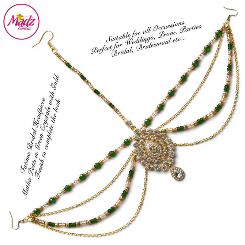 Madz Fashionz USA: Fatima Traditional Green Bridal Chandelier Matha Patti