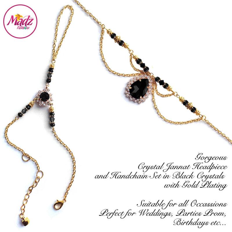 Madz Fashionz USA: Jannat Delicate Black Crystal Headpiece Handchain Set