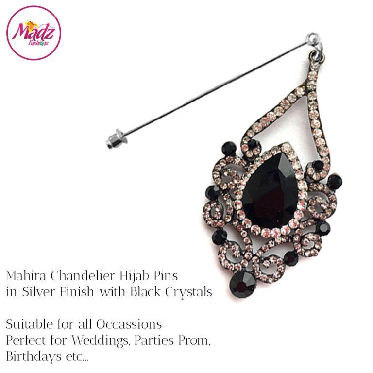 Madz Fashionz USA: Mahira Exquisite Nawab Bridal Hijab Pins, Hijab Jewels Silver Black
