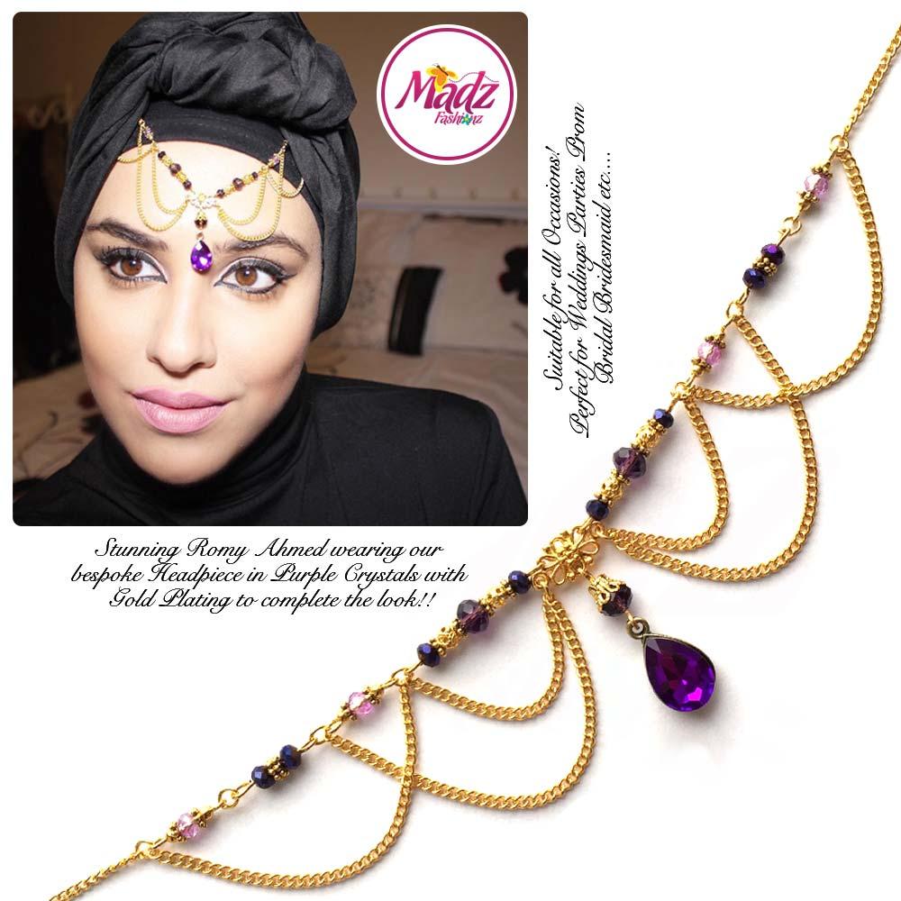 Madz Fashionz USA: Romy Ahmed Bespoke Headpiece Matha Patti Gold Purple