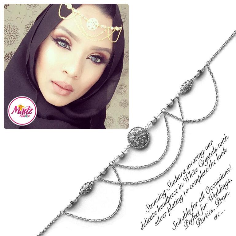 Madz Fashionz USA: Shahara Bespoke Crystal Headpiece Matha Patti Silver White