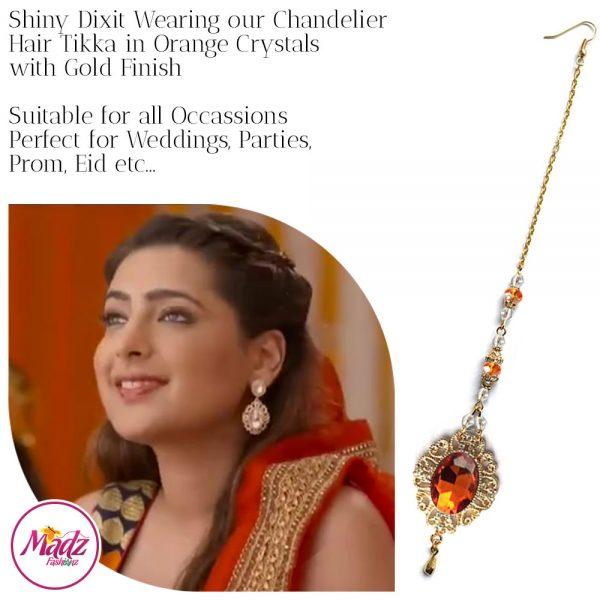Madz Fashionz USA: Shiny Dixit Chandelier Maang Tikka Hair Tikka Zee Tv ZKM Gold Orange