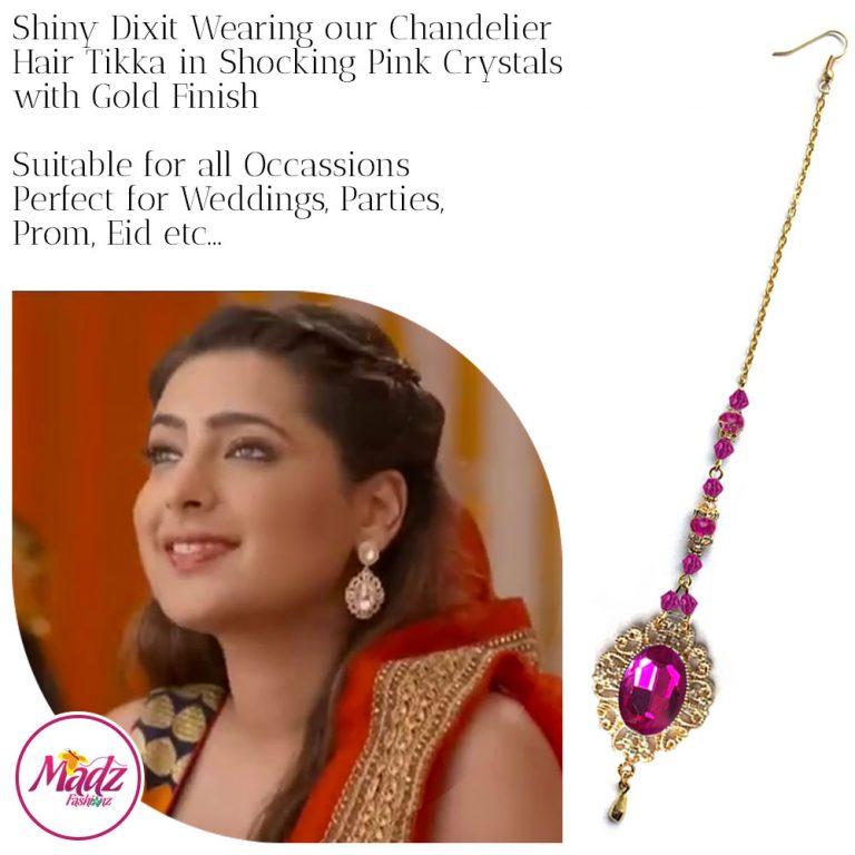 Madz Fashionz USA: Shiny Dixit Chandelier Maang Tikka Hair Tikka Zee Tv ZKM Gold Shocking Pink