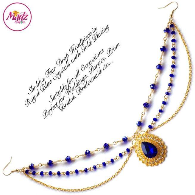 Madz Fashionz USA: Shobha Pearl Drop Matha Patti Headpiece Gold Royal Blue