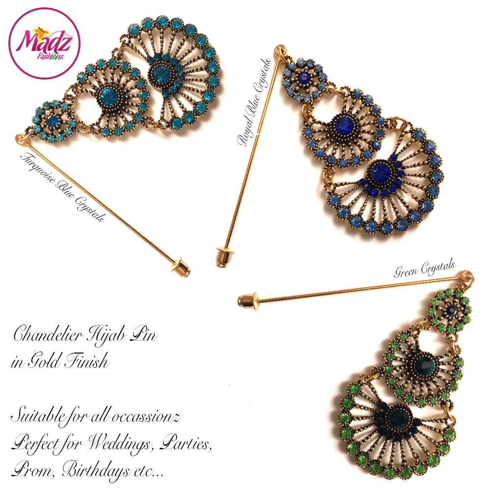 Madz Fashionz USA: Mannat Chandelier Hijab Pins, Hijab Jewels Gold