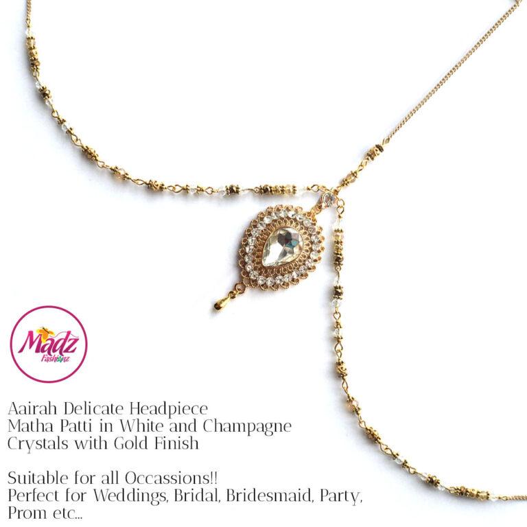 Gold headpiece , indian bridal Matha Patti , Aairah , crystal forehead jewelry , hijab jewelry , head jewelry chain , prom head chain , mang tikka