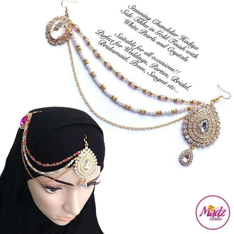 Madz Fashionz USA: Hadiya Gold White Pearl Bridal Side Tikka Headpiece