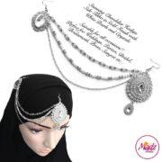 Madz Fashionz USA: Hadiya Silver White Pearl Bridal Side Tikka Headpiece