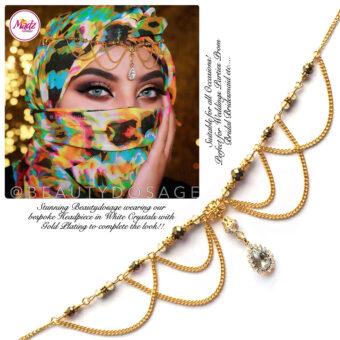 Madz Fashionz USA: Beautydosage Bespoke Crystal Drop Matha Patti Headpiece Gold and White