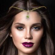 Gold Head Piece , Silver Head Piece , Meera , gold chain hair jewelry , crystal headwear , head tiara , bridal hair accessories