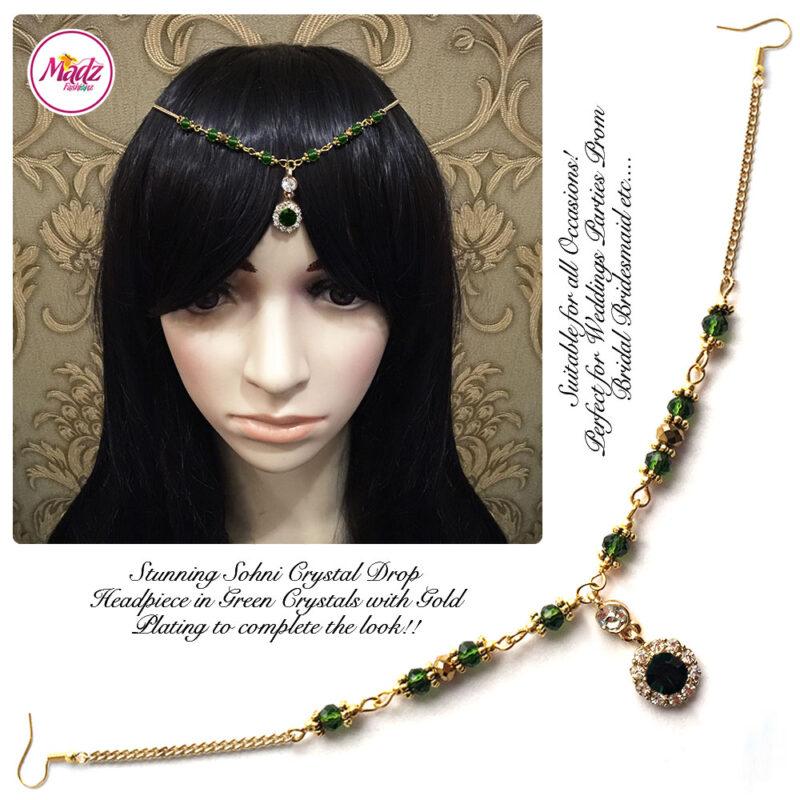 Madz Fashionz USA: Sohni Crystal Matha Patti Headpiece Gold Dark Green