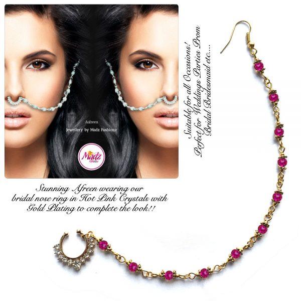 Madz Fashionz USA: Afreen Pearl Indian Nose Ring Nath Bullaku Nathu Gold Shocking Pink