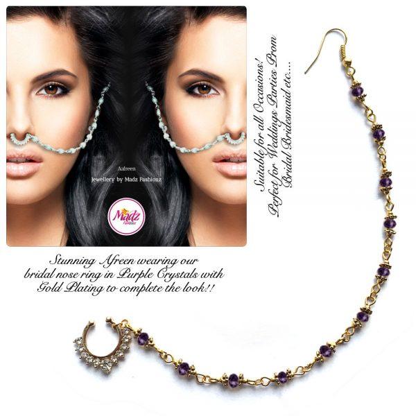 Madz Fashionz USA: Afreen Pearl Indian Nose Ring Nath Bullaku Nathu Gold Purple