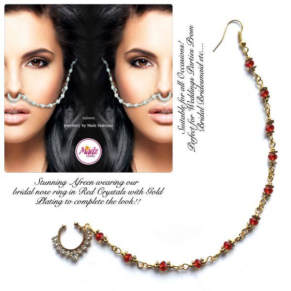Madz Fashionz USA: Afreen Pearl Indian Nose Ring Nath Bullaku Nathu Gold Red