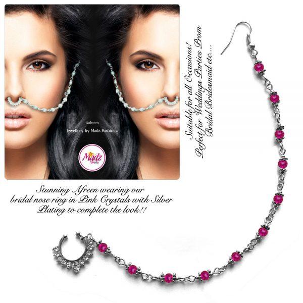 Madz Fashionz USA: Afreen Pearl Indian Nose Ring Nath Bullaku Nathu Silver Shocking Pink