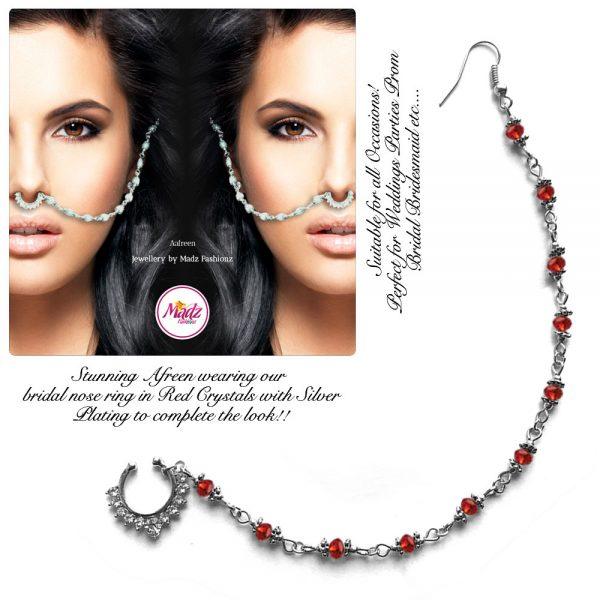 Madz Fashionz USA: Afreen Pearl Indian Nose Ring Nath Bullaku Nathu Silver Red