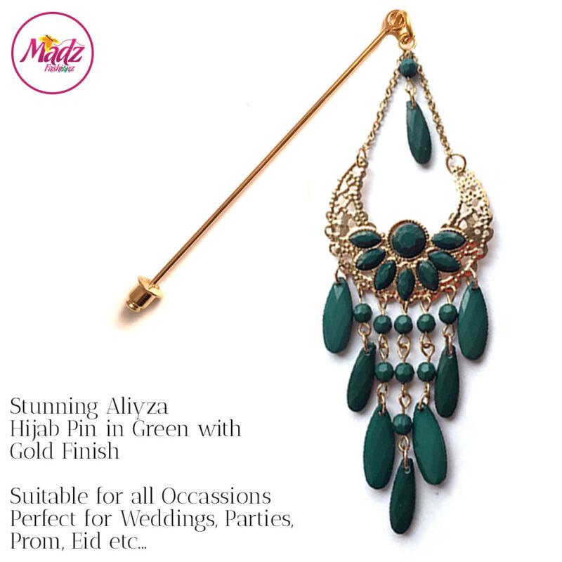 Madz Fashionz USA: Aliyzah Hijab Pin Hijab Jewels Stick Pins Gold Green
