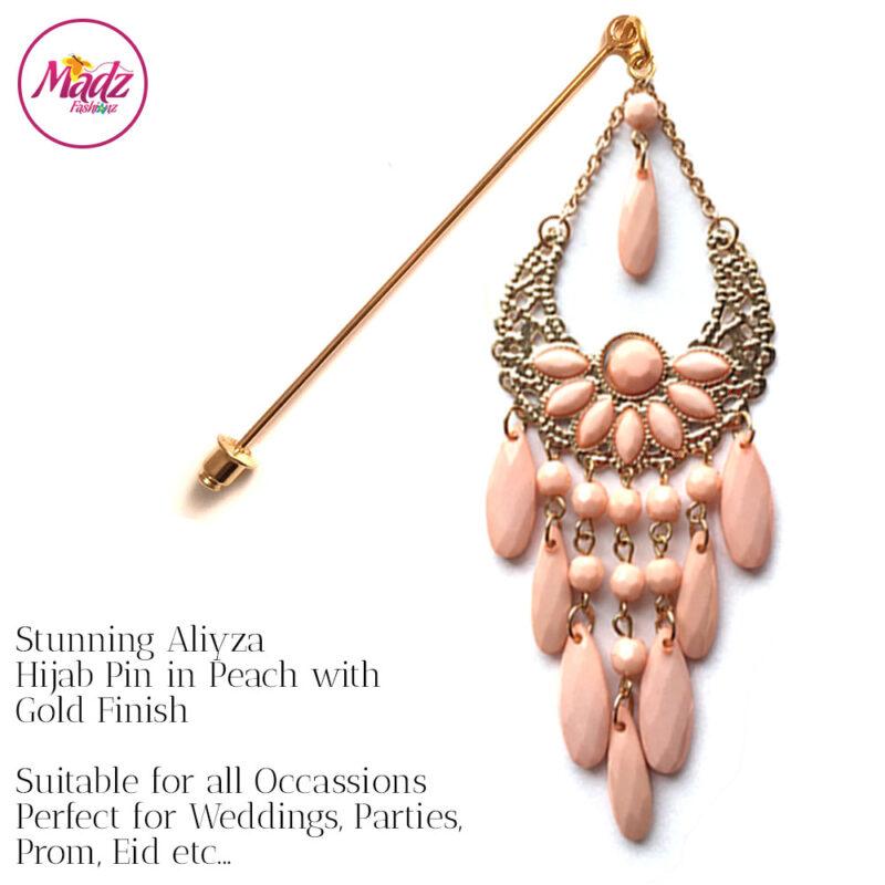 Madz Fashionz USA: Aliyzah Hijab Pin Hijab Jewels Stick Pins Gold Peach