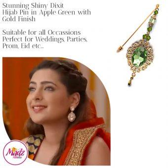 Madz Fashionz USA: Shiny Dixit Chandelier Hijab Pin Stick Pin Hijab Jewels Zee Tv ZKM Gold Apple Green