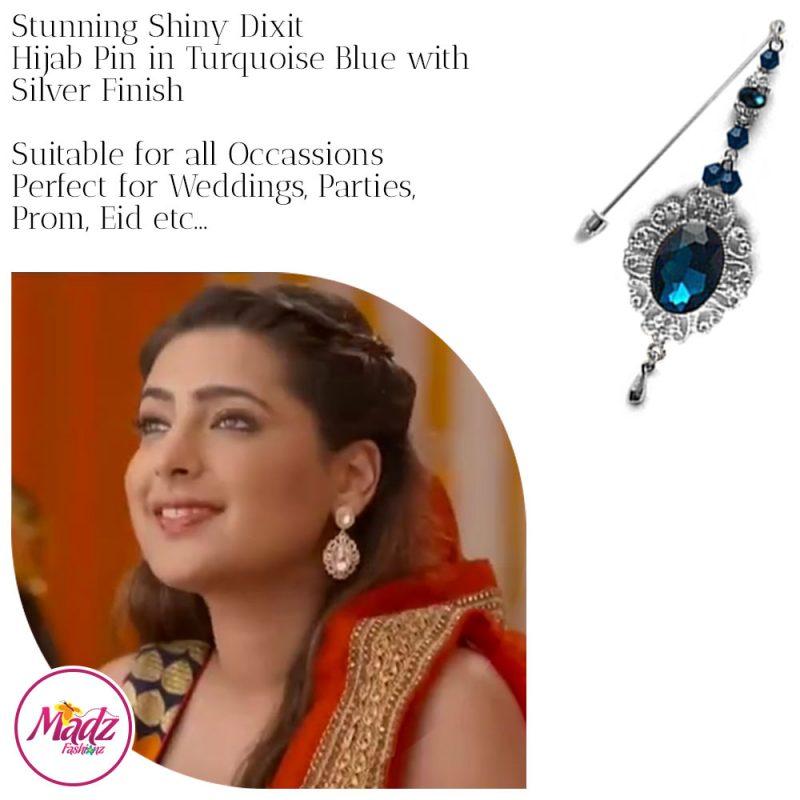 Madz Fashionz USA: Shiny Dixit Chandelier Hijab Pin Stick Pin Hijab Jewels Zee Tv ZKM Silver Turquoise Blue