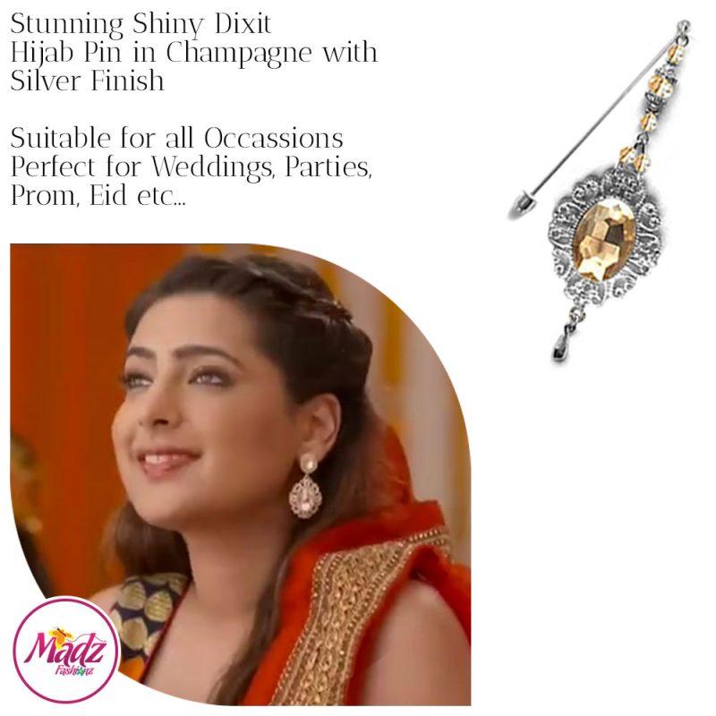 Madz Fashionz USA: Shiny Dixit Chandelier Hijab Pin Stick Pin Hijab Jewels Zee Tv ZKM Silver Champagne